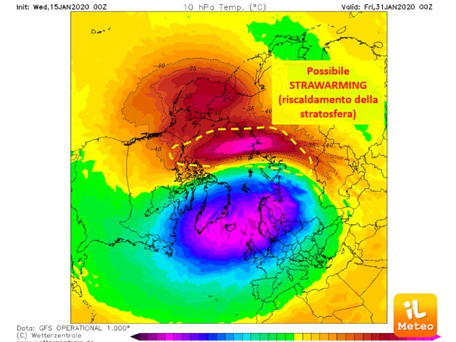 Possibile stratwarming (riscaldamento della stratosfera) per fine gennaio/inizio febbraio