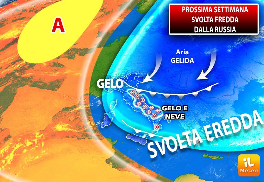 Svolta fredda settimana prossima quando correnti gelide dalla Russia raggiungeranno l'Italia