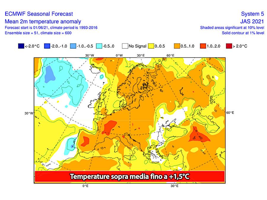 Temperature per il mese di luglio: fino a 1,5°C sopra la media