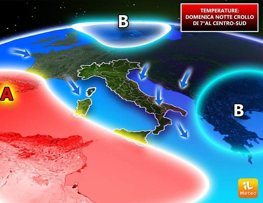 I venti di Maestrale e di Bora causeranno una diminuzione termica notturna