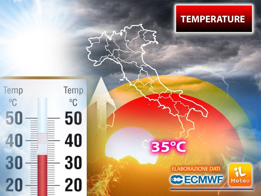 Temperature in forte ascesa con picchi di 35°C su una regione