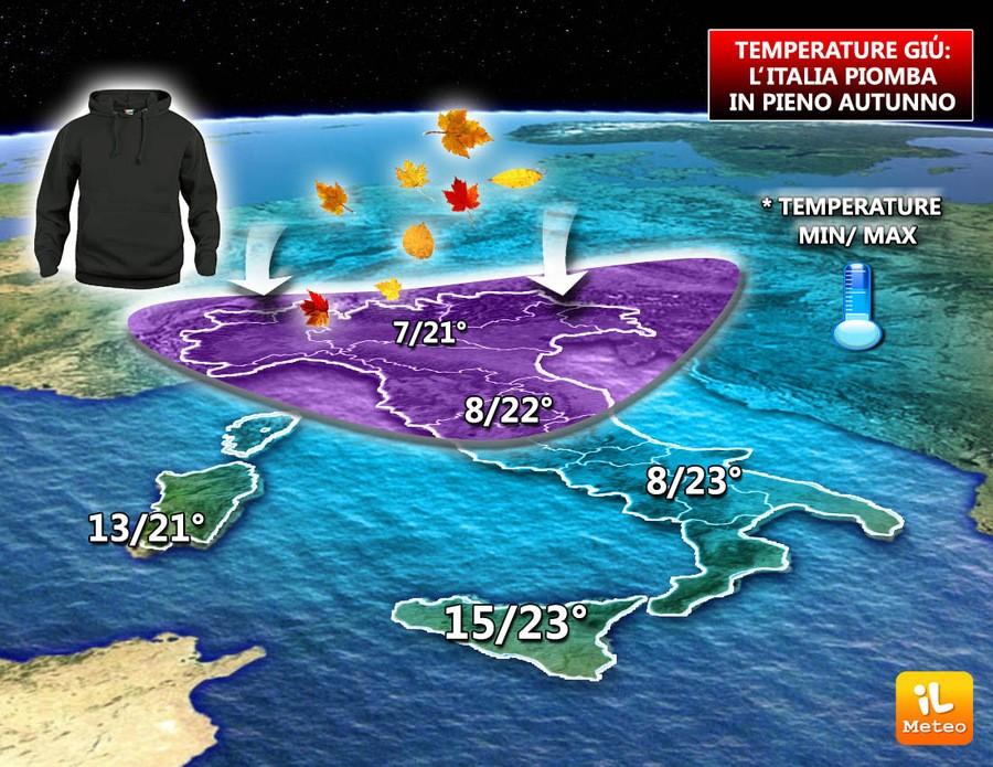 Valori termici autunnali sull'Italia