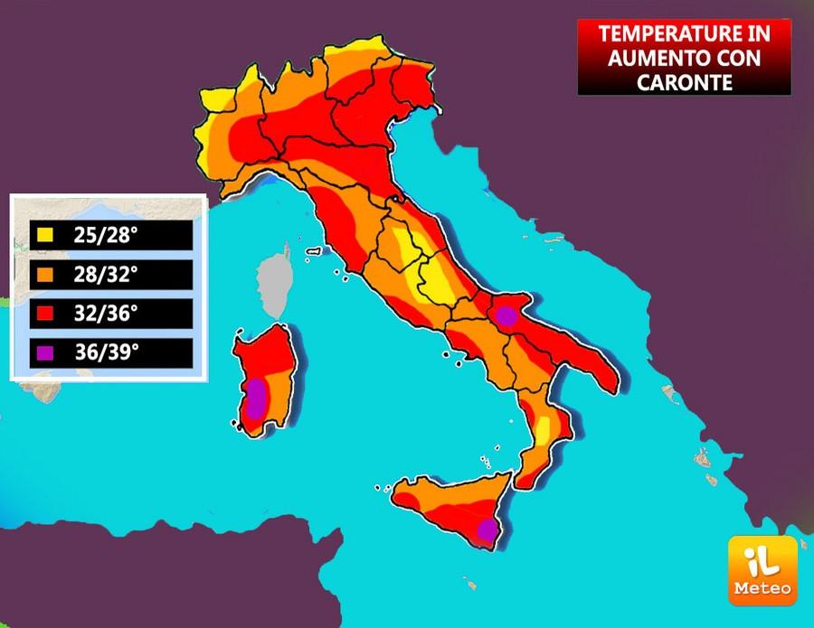 Caronte sull'Italia, dettaglio temperature