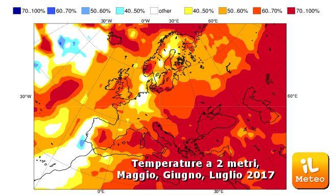 Temperature per Maggio, Giugno, Luglio secondo il modello ECMWF