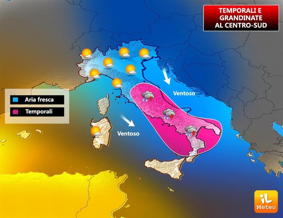 Zone interessate dai temporali di Mercoledì 26 Luglio