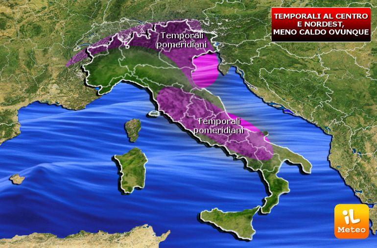Zone interessate dai temporali di Martedì 25 Luglio
