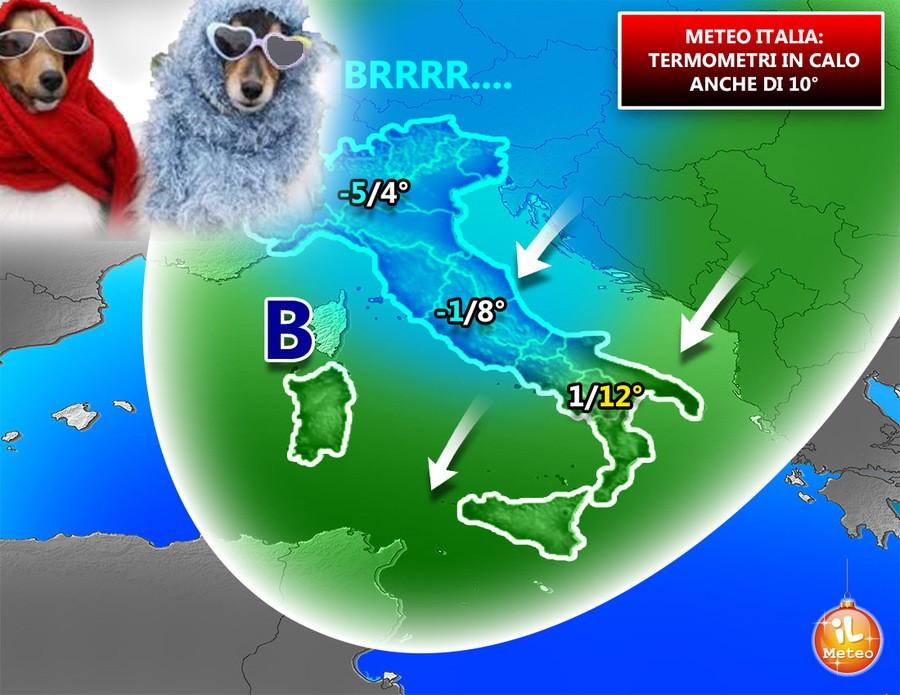 Termometri giù, la terza irruzione artica del mese di Dicembre è servita