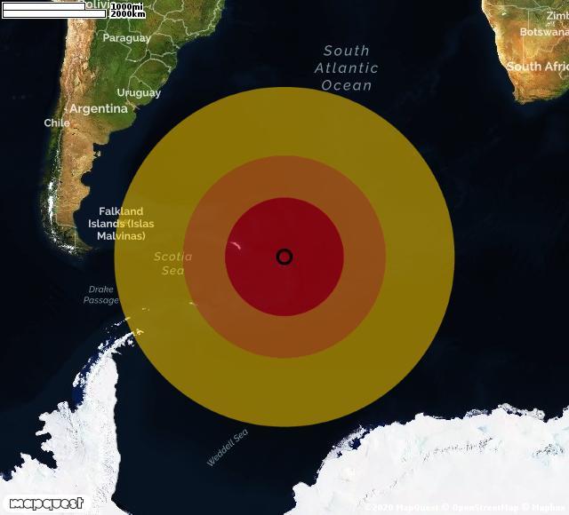 Scossa di terremoto registrata a Zavodovski Island (Regno Unito)
