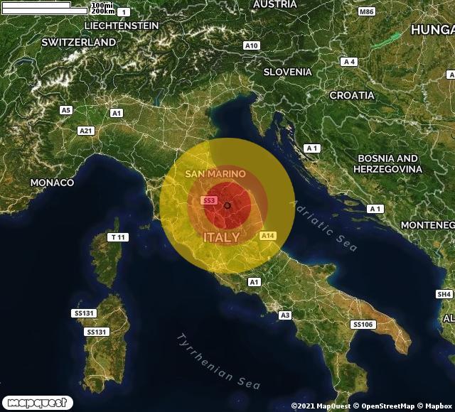Scossa di terremoto registrata a Gualdo Tadino (PG)