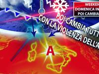 METEO >> WEEKEND, Domenica d'attesa, poi CAMBIA TUTTO con VIOLENZA dall'ARTICO, ecco DOVE e QUANDO
