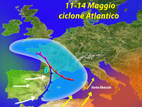 METEO ~ Ciclone sull'Italia dall'11 al 15 Maggio, si prospetta Forte Maltempo