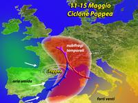 METEO - Italia colpita dal ciclone POPPEA dall'11 maggio, Pericolo nubifragi e grandinate