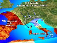 METEO » incursione fresca 2-3 agosto, violenti temporali al Centro-Nord!