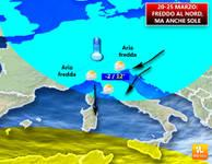 METEO: Italia divisa fino alle Palme, Nord al SOLE con il GELO del Burian, NEVE al Sud