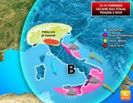 METEO: Venerdì 23, Ciclone di NEVE sull'Italia, è maltempo [VIDEO]