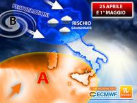 Meteo: tra 25 APRILE e 1° MAGGIO Nuovi ATTACCHI ATLANTICI, si rischiano FORTI GRANDINATE. La TENDENZA