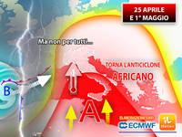 Meteo: 25 APRILE/1° MAGGIO, torna l'Anticiclone AFRICANO, ma non per Tutti. La TENDENZA