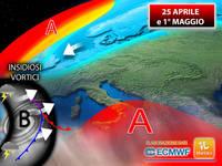 Meteo: 25 APRILE/1° MAGGIO, insidiosi VORTICI BLOCCANO ancora l'avanzata dell'ANTICICLONE AFRICANO. Le CONSEGUENZE