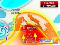 Meteo: 25 APRILE/1° MAGGIO, CAMBIA TUTTO! Arriva l'ANTICICLONE AFRICANO, TERMOMETRI fino a 30°C, ma NON per tutti