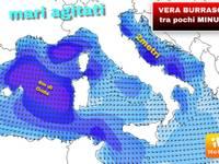 METEO: vera Burrasca imminente, scossone a 80km/h, onde di 6 metri, temperature ad una sola cifra