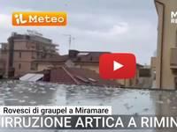 Meteo: RIMINI, con l'irruzione ARTICA Rovesci di GRAUPEL sulla costa romagnola. Il VIDEO