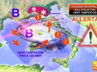 Meteo: arriva MEDICANE, un URAGANO mediterraneo NEVOSO tra Mercoledì 23 e Giovedì 24; ecco cosa accadrà