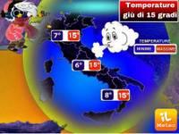 Meteo IMPROVVISO CROLLO TEMPERATURE, giù di 15°C, Ecco dove e da quando