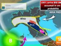 Meteo: CONFERME 100% per  BIG-SNOW, ecco le zone colpite dalla GRANDE NEVE, accumuli previsti [centimetri e %]