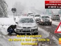 METEO: COMUNICATO UFFICIALE, da Martedì 22 a Venerdì 25 ben 5 FASI di NEVE in pianura da NORD a SUD