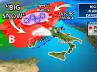 Meteo: BIG SNOW confermata, arriverà un carico di NEVE fino in PIANURA. Ecco QUANDO e DOVE