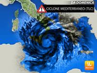 Meteo WEEKEND: da Domenica CICLONE MEDITERRANEO Contro l'Italia, Rischio Alluvioni e Raffiche Tempestose di Vento