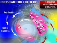 METEO: il CICLONE mediterraneo si SCATENA, prossime ore CRITICHE. Ecco cosa sta per accadere
