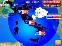 Meteo: TEMPERATURE, crollo termico in arrivo, termometri giù anche di 10 gradi