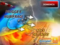 Meteo: DOMENICA a 2 FACCE, ITALIA tra PIOGGE e NUBIFRAGI, ma anche APICE del CALDO. La PREVISIONE nel DETTAGLIO
