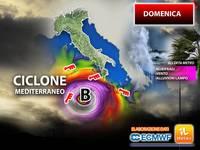 Meteo AVVISO: DOMENICA, pericoloso CICLONE MEDITERRANEO impatta sull'Italia. Grave Allerta Alluvioni