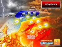Meteo: DOMENICA, ITALIA Contesa tra FORTI TEMPORALI, VENTO e FIAMMATA AFRICANA. Le PREVISIONI nel DETTAGLIO