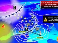 Meteo: TUTTA la SETTIMANA Italia nella TRAPPOLA di un DOPPIO VORTICE di NEVE da Nord a Sud. Ecco il DETTAGLIO
