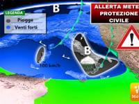 METEO: ALLERTA UFFICIALE PROTEZIONE CIVILE per Burrasca Imminente Domenica 9 Dicembre venti fortissimi