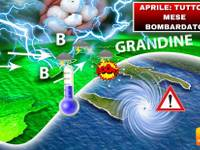 Meteo: APRILE, mese TUTTO BOMBARDATO. Maltempo SENZA FRENI, NUBIFRAGI e GRANDINE verso Italia, ecco DOVE