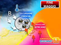 Meteo: dal 24 MAGGIO Duro SCONTRO tra ANTICICLONE AFRICANO e INCURSIONI FRESCHE. Le FORTI CONSEGUENZE in ITALIA