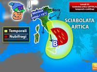 Meteo: Lunedì 22, sciabolata artica sull'Italia. Temporali, nubifragi e crollo termico