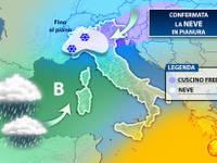Meteo: è CONFERMATA la NEVE in PIANURA tra Giovedì e Venerdì, anche ABBONDANTE. Ecco le zone colpite