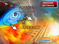 Meteo: PROSSIMA SETTIMANA, da Lunedì subito ANTICICLONE, poi a Sorpresa ritorna il MALTEMPO. Le Previsioni