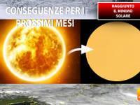 Meteo: il nostro SOLE è arrivato al MINIMO di forza. Vi spieghiamo le CONSEGUENZE per l'IMMEDIATO FUTURO