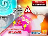 Meteo: PROSSIMA SETTIMANA ESTREMA, da Lunedì NON solo FIAMMATE AFRICANE ma anche INCUBO GRANDINATE e NUBIFRAGI