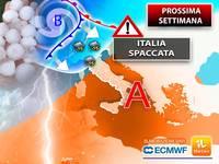 Meteo: PROSSIMA SETTIMANA, da Lunedì ITALIA SPACCATA in 2 in PIENA ESTATE, tra TEMPORALI, GRANDINE e CLIMA ROVENTE