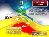 Meteo: PROSSIMI GIORNI con ALTA PRESSIONE FRAGILE, scoppieranno IMPROVVISI TEMPORALI su molte Regioni. PREVISIONI