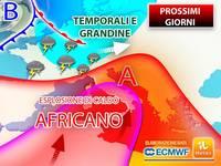 Meteo: fino a VENERDI contemporaneamente FORTE ESPLOSIONE AFRICANA e TEMPORALI ESAGERATI sull'Italia