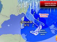 Meteo: l'INVERNO non è finito. Da Venerdì 22 SVOLTA gelida dalla RUSSIA, tornano FREDDO e NEVE. I DETTAGLI