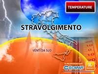 Meteo: TEMPERATURE, Venti da Sud pronti a stravolgere i Termometri su mezza Italia. Vi diciamo Cosa accadrà adesso